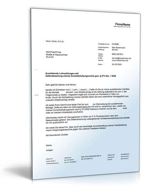 Muster Mahnung Zahlungsverzug Arbeitgeber Geltendmachung Des Zur 252 Ckbehaltungsrechts Musterbrief Zum