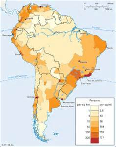 south america population density encyclopedia