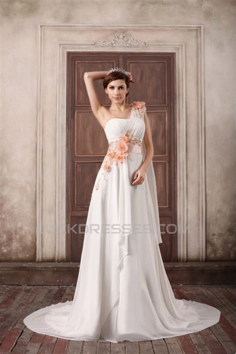 Sleeveless A Line Chiffon Dress one shoulder a line sleeveless chiffon satin wedding