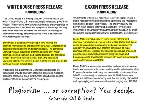 white house press release white house press release copies paragraph from exxonmobil release