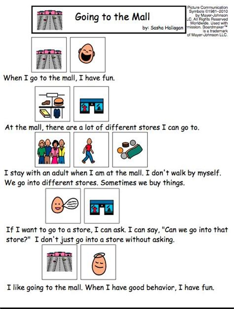 social story templates free visual social story packet for children with autism