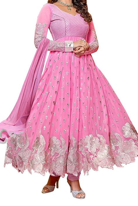 Baby Pink Geos Helena Uk L georgette wear anarkali suit in baby pink colour