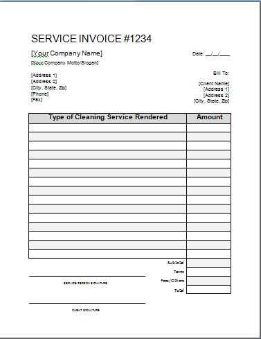 house cleaning free printable house cleaning invoices