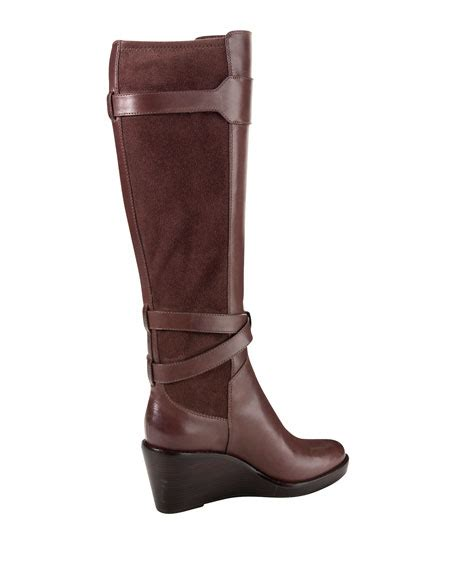 cole haan leather wedge boot brown