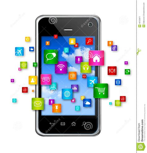 stock mobili mobile phone and flying apps icons stock illustration