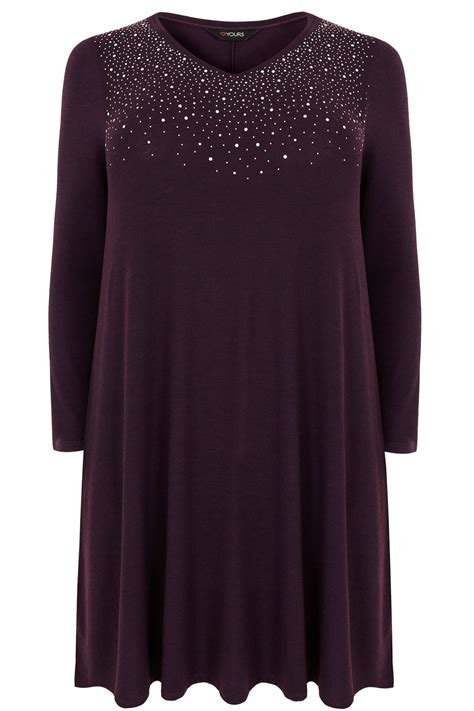 purple swing purple fine knit swing dress with embellished front plus