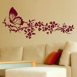 butterfly flowers big wall art sticker stencil bedroom pink flower stickers living room decals