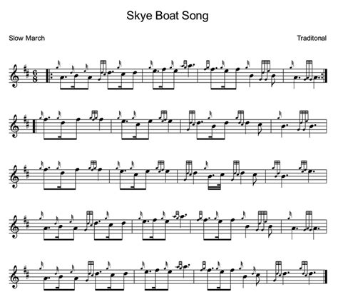 skye boat song music notes skye boat song bagpipe lesson