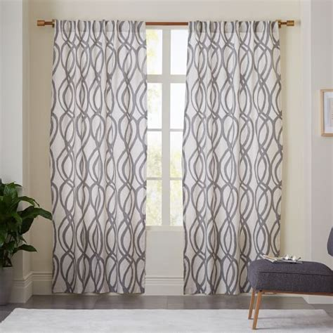 Pottery Barn Outdoor Curtains Cotton Canvas Scribble Lattice Curtains Set Of 2