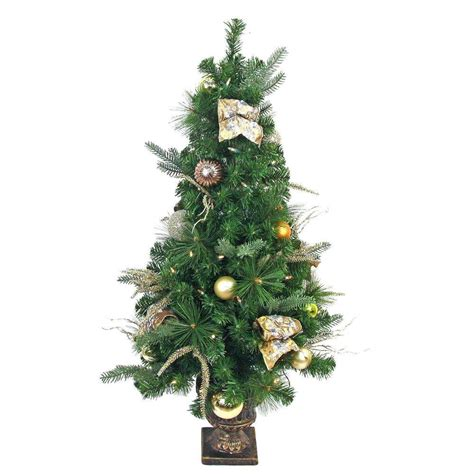 prelit battery operated potted christmas tree home accents 4 ft pre lit led manhattan artificial porch tree with 50 battery