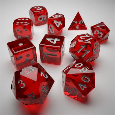 printable dice set role playing dice complete set 3d print ready 3d model