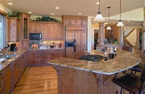 hickory kitchen island colorado style kitchen with granite raised bar island and hickory cabinets website