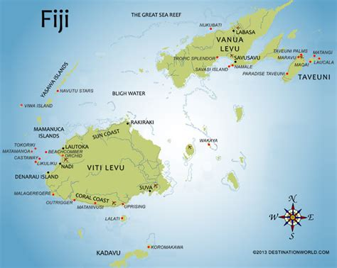 fiji islands map fiji vacations by destination world