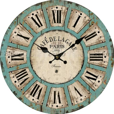 large vintage style wooden wall clock distressed antique ebay