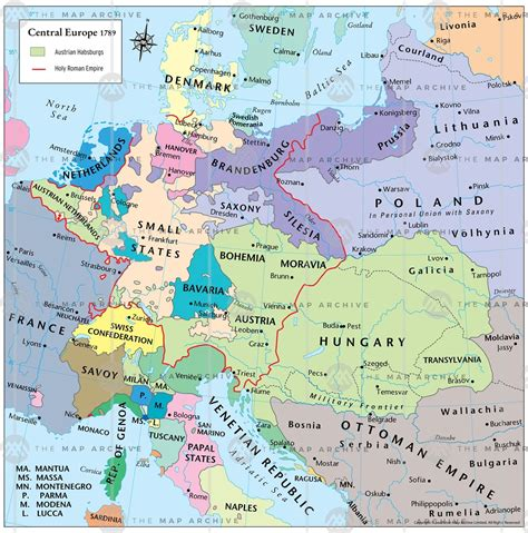 central europe map central europe 1789
