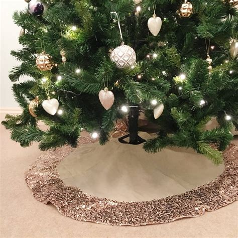 hessian christmas tree skirt with rose gold sequin trim by
