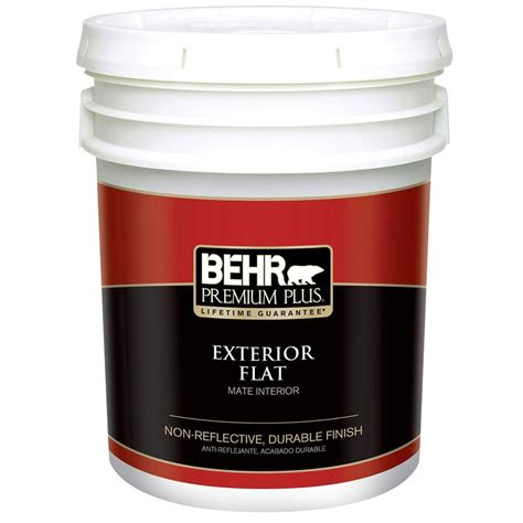 behr premium plus 5 gal medium base flat exterior paint