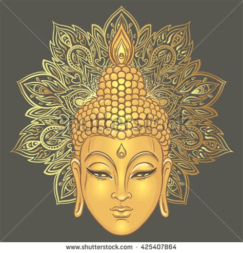 buddha over ornate mandala round pattern vector