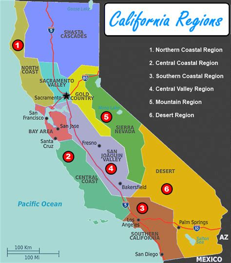 map of california regions regions of the west coast of the united states