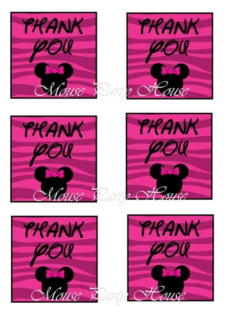 printable zebra thank you tags zebra print thank you tags minnie mouse inspired printable