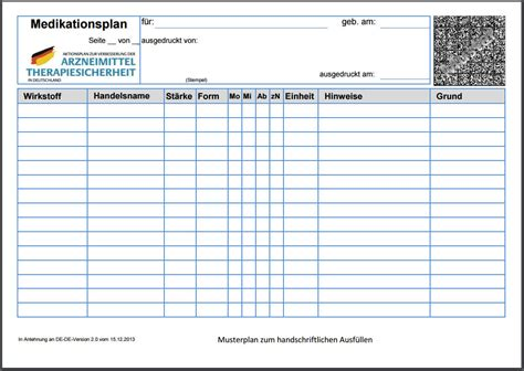 Rechnungsvorlage Chip medikationsplan muster pdf chip