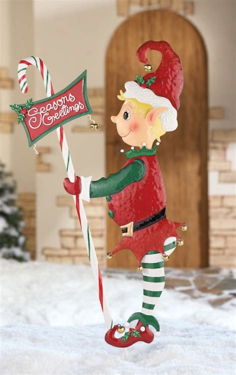 elves lightingand decorating charlotte quot seasons greetings quot garden stake