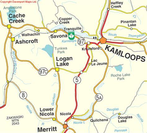 Road Map Of Bc Interior by Merritt Columbia