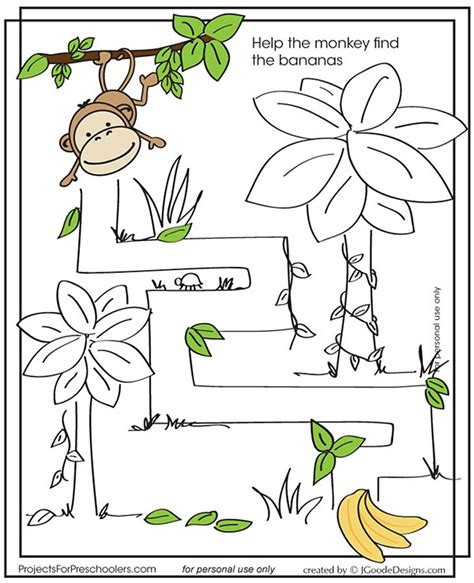 printable monkey maze monkey maze thema apen kleuters monkey theme preschool