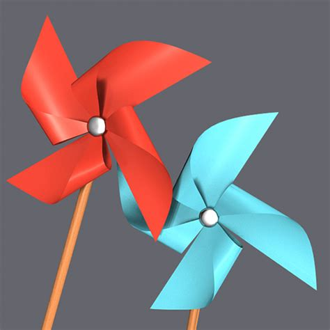 How To Make A Paper Wind Wheel - paper windmill pinwheel 3d model