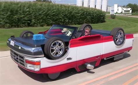 mans creates pickup truck  drives upside  video performancedrive