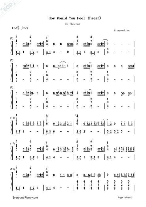 ed sheeran how would you feel chords how would you feel paean ed sheeran numbered musical