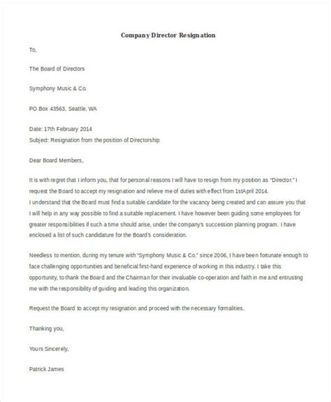 Resignation Letter Of Director Pdf 5 Effective Immediately Resignation Letter Exles 39 Resignation Letter Exles Free Premium