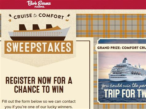 Bob Evans Com Comfort Sweepstakes - bob evans farms cruise to comfort sweepstakes and instant win game