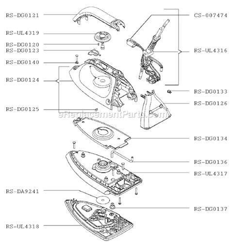 rowenta iron parts diagram rowenta dg980 parts list and diagram ereplacementparts