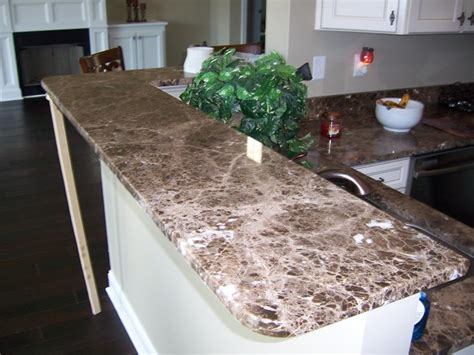 National Countertop by Emperador Marble Kitchen Remodel Traditional