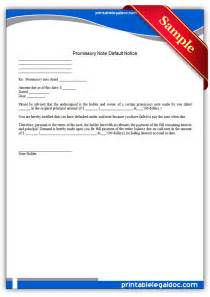 Default Notice Template by Free Printable Promissory Note Default Notice Form Generic