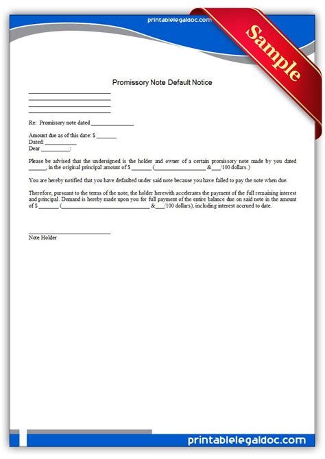 Response Letter To Notice Of Default Free Printable Promissory Note Default Notice Form Generic