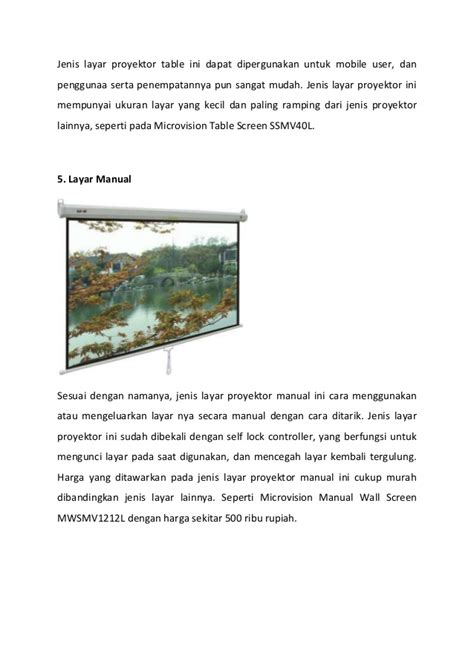 Proyektor Ukuran Besar 7 jenis layar proyektor