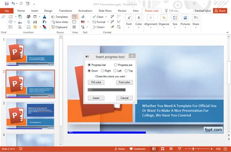 add powerpoint template add progress bar fppt