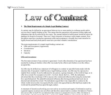 The Main Requirements Of A Simple Legal Binding Contract Law Of Contract University Law Legally Binding Contract Template