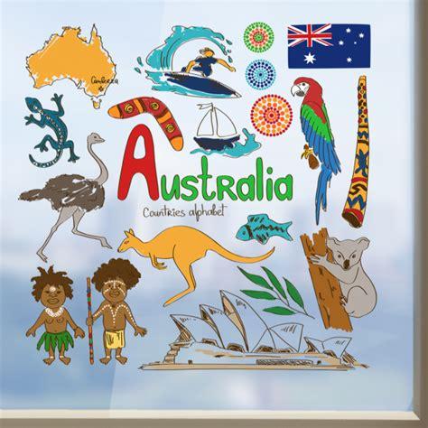 australian wall stickers australia illustration wall sticker diythinker