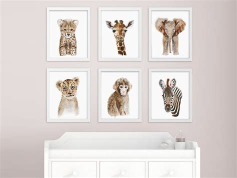 Animal Nursery Decor Gender Neutral Nursery Decor Baby Animal Prints Safari