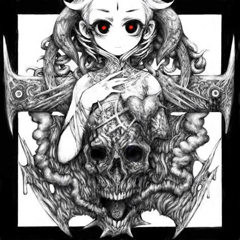 Monochrome Graphic 7 Original Oceanseven 1girl horns monochrome original pon pixiv pon tab rasa skull lolibooru