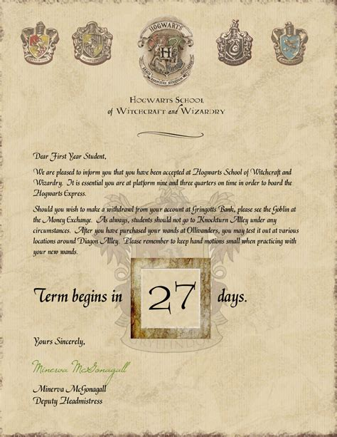Hogwarts Acceptance Letter Official Harry Potter Hogwarts Acceptance Letter Countdown With