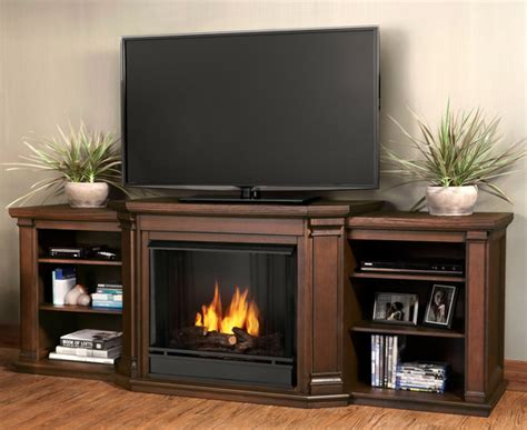 75 5 quot valmont chestnut oak entertainment center gel fireplace