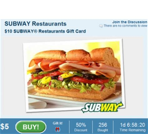 5 Dollar Subway Gift Card - daily deals 10 subway gift card for 5 passion for savings