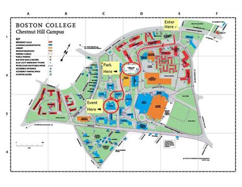 boston college map boston college chestnut hill map images