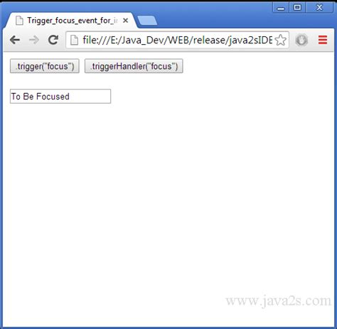 javascript query tutorial trigger focus event for input element in jquery