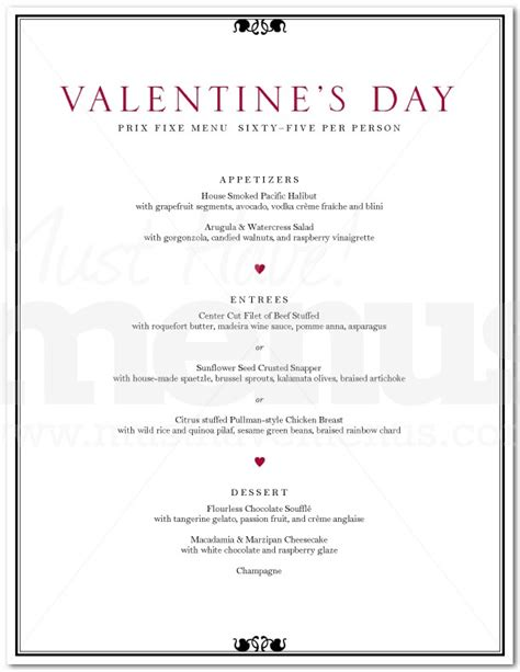 valentines day dinner menu s day dinner menu page 1