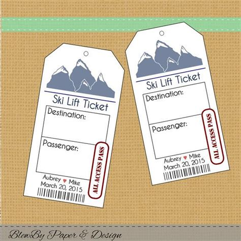 printable personalized tickets ski lift ticket wedding printable escort place cards